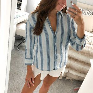 L.L.Bean Blue & White Striped 3/4 Button Down Top